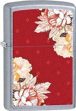 Zippo 2015 Catalog Red Floral Geometric Design Street Chrome Lighter 28849 *NEW*