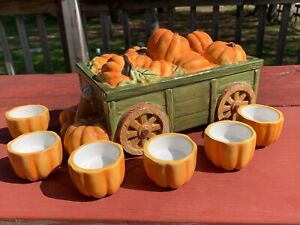 YANKEE CANDLE Thanksgiving Harvest Pumpkin Wagon Tea Light Holder Farm Style