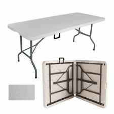 Portable Folding Trestle Table Heavy Duty Plastic Camping Party Picnic BBQ 6 FT