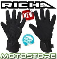 RICHA DUSK THERMAL WATERPROOF BLACK LEATHER TEXTILE MOTORCYCLE MOTORBIKE GLOVES
