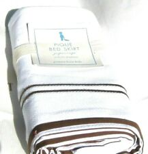 Pottery Barn Kids Baby Crib Bed Skirt Pique Nursery White Brown $59.00 Bedskirt