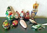 Vintage LOT 10 GLASS CHRISTMAS ORNAMENTS  Santa Birds snowman W.GERMANY LAOMAI++
