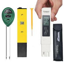 Digital LCD TDS & EC Meter & pH Water & Soil Monitor TEMP Test Home Tool Kit Set