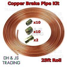 Copper Brake Pipe Hose Kit 25ft 10 Male & 10 Female Nuts Joiner Joint 3/16 Union