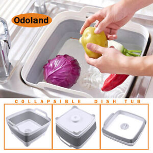 Foldable Dish Tub Washing Basin Collapsible Draining Pan Strainer Food Basket