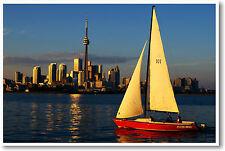Toronto at Sunset - Sailing Skyline City Cityscape Travel Art Print - NEW POSTER