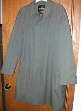 Vintage Men's Rainfair Rain Topcoats Trench Coat sz 40 Green w/ blue stripes