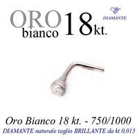 Piercing naso nose ORO BIANCO 18kt. con DIAMANTE kt.0,015 white GOLD DIAMOND