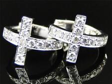 10k Ladies White Gold Round Cut Diamond Pave Set Cross Hoop Huggie Earrings 1/2C