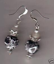 BOUCLES  D'Oreilles Coeur Pierre noir & JADE Fabrication maison  howlite earring