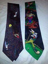 Lot of 2 Looney Tunes Bugs Taz Tweety necktie tie Golf Paisley 100% Silk EUC