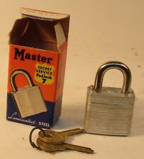 NEW OLD STOCK MASTER SECRET SERVICE PADLOCK #7