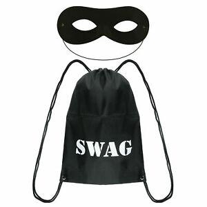 Swag Bag Eye Mask Drawstrings Burglars Sack Gangsta Robber Fancy Dress Book Day