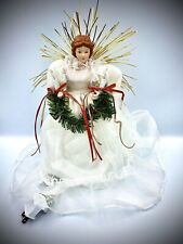 Antique Vintage Lighted White Angel Table Tree Top Topper Mint Holding Wreath
