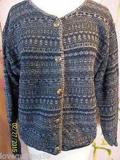 """""""ALPS"""" Button Front Sweater, Navy/Denim Blue Heather Knit. Medium, Cotton"""