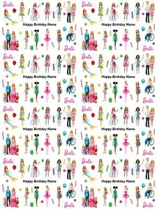 Barbie Personalised Birthday Gift Wrapping Paper ADD NAME CHOOSE BACKGROUND