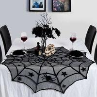Scary Halloween Dentelle Table Tissu Couverture Porte Fenêtre Rideau Décor BM