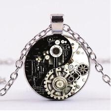 NEW Cabochon Glass necklace Silver/Bronze/Black pendant(Steam Punk yin yang)