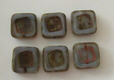 6 Czech glass table cut square beads, grey/brass