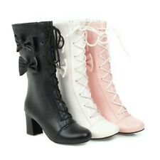 Womens Bowknot Mid-calf Boots Lolita Round Toe Block Heel Lace Up Strappy Shoes