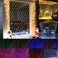 LED Lichter Vorhang Netz Lichterkette Weihnachten Beleuchtung Außen Party Deko.