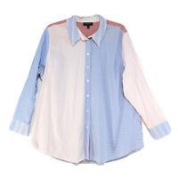 Lane Bryant Mixed Print LS Button Front Blouse Womens Sz 28 Plaid Checks Stripes