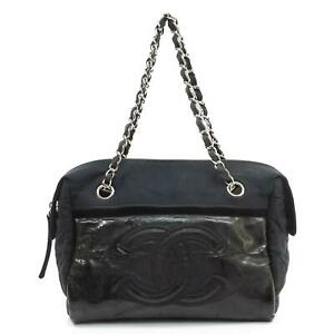 Auth Chanel Coco Chain Hand Bag Patent Leather Black #15681C20