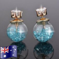 Blue Crystal Filled Double Sided Ball Glass Orb CZ Gold Stud Earrings Gift