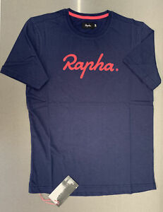 Rapha Logo T-Shirt Navy High-Vis Pink Size Medium Brand New With Tag