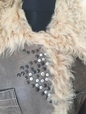 SPORTMAX studded Shearling Leather Coat with silver hooks  UK14 RRP £990