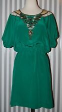 TRINA TURK Emerald Green Jeweled Necklace Neckline Dolman Dress 100% Silk 10 M