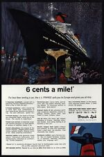 1965 FRENCH LINE S.S. FRANCE Cruise Ship - Great BOB PEAK Art - VINTAGE AD