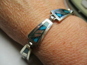 STERLING SILVER 925 ESTATE BLUE TURQUOISE SOUTHWEST PANEL 7.25 INCH BRACELET