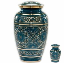 "Caribbean Blue with Golden Engraving Cremation Urn ""Set"",Cremation Urn-Adult Urn"