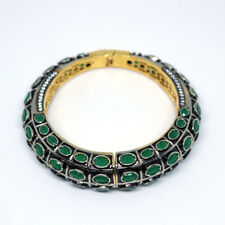 Victorian Jewelry Emerald & CZ Beads 24k Gold Plated Cuff Bangle Bracelet Gift.