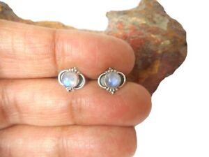 Round  MOONSTONE  Sterling  Silver  925  Gemstone  Stud Earrings - 5 mm