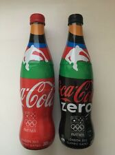 Coca Cola 2012 London Olympics Set of 2 Full Glass Bottles 385ml each New