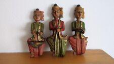 3 Holzfiguren Orientalische Musiker Handarbeit 26 cm