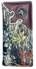 Mossy Oak Camo Bi Fold Wallet Western Checkbook Style wallet Long Wallet