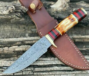 HANDMADE FORGED DAMASCUS Steel Hunting Knife W/ Bone & Brass Guard Handle