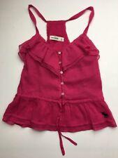 Girl's Abercrombie Kids Blouse Sz Medium Hot Pink Button Top Shirt Ruffles Strap