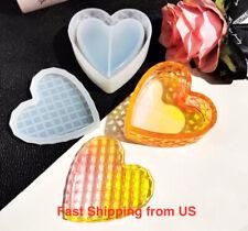 New 2-Part Shiny Heart-Shaped Trinket/Jewelry Box Silicone Mold - Resin, Epoxy