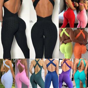 Women's Sports Yoga Jumpsuit Bodysuit Anti Cellulite Leggings Yoga Fitness Pants
