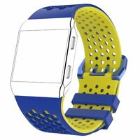 Silicone Wriststrap Bracelet Band Strap for Fitbit Ionic Watchband Blue Yellow