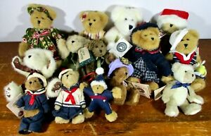 """1990s 2000s Lot of 14  Boyds Bears Plush HEAD BEAN COLLECTION  w/Tags 6-10"""""""
