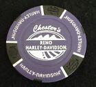 Reno, Nevada Chester's Harley Davidson Poker Chip / Purple & Black