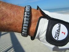 Mens Magnetic Therapy Black Leather Bracelet Silver Magnets w/ Indian button
