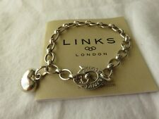 Genuine Links of London Silver Charm Bracelet Fully Hallmarked with Heart Charm