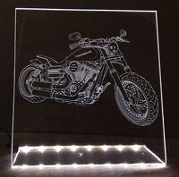 LED faunz Motorrad Leuchtschild, Gravur für HARLEY DAVIDSON CHOPPER BIKE NEU ©