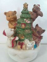 Vintage Music Box Forest Friends Plays White Christmas Around The World